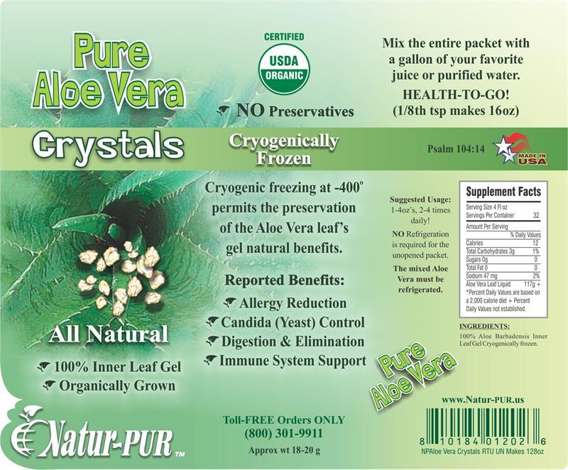 1 Gallon Certified Organic Aloe Vera Juice Whole Leaf